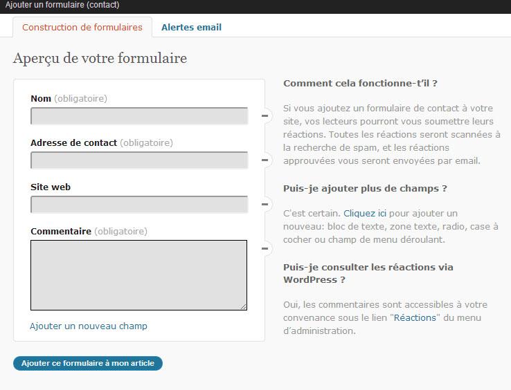 Tuto jetpack wordpress en fran ais formation compl te et - Formulaire de contact ...